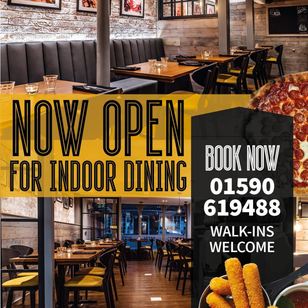 Now Open for Indoor Dining. Book Now 01590 619 488. Walk-ins welcome